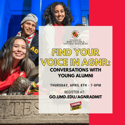 Virtual flyer for find your voice in AGNR. Picture of three students sitting around testudo stature with umd apparel on.